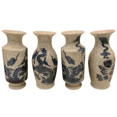 Four-Vase Blue and White Crackle Garniture