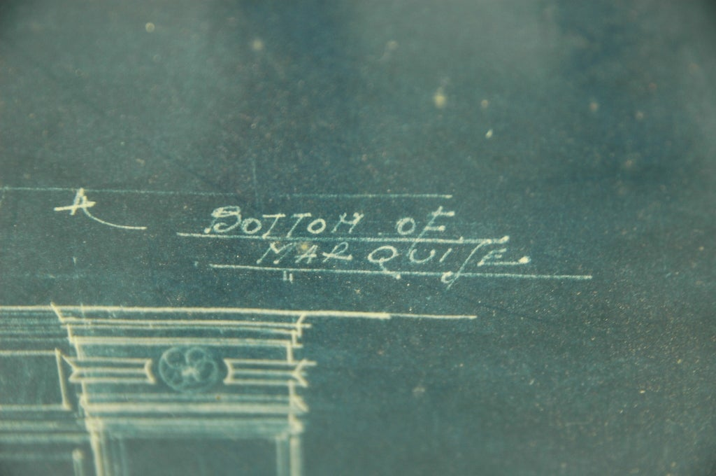 Theatre Entrance Blueprint Signed by Thomas Lamb In Fair Condition For Sale In NYC, NY