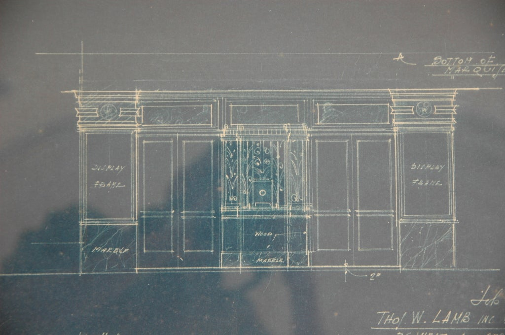 Theatre Entrance Blueprint Signed by Thomas Lamb For Sale 1