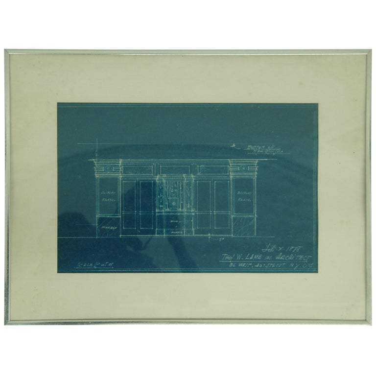 Theatre Entrance Blueprint Signed by Thomas Lamb For Sale