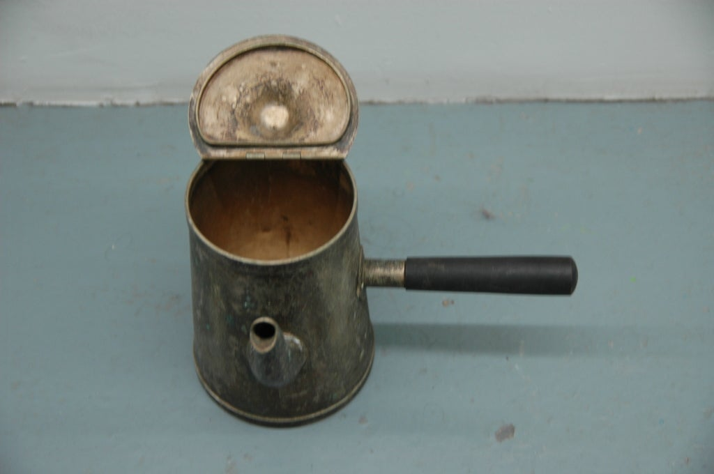 Primitive Straight Handled Tea Kettle For Sale
