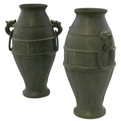 Pair of Japanese Bronze Vases, Meiji Period