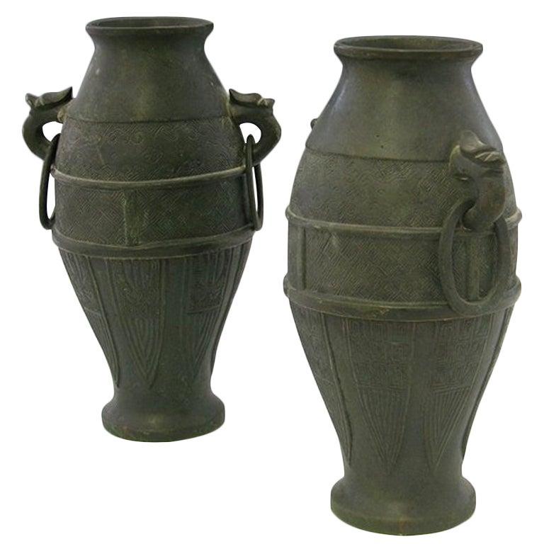 Pair of Japanese Bronze Vases, Meiji Period