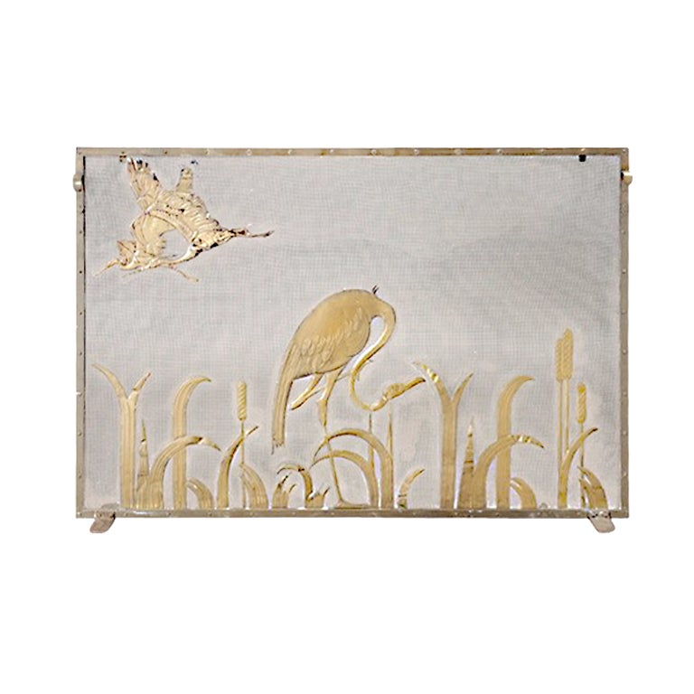 Art Deco Glass And Brass Fire Screen At 1stdibs