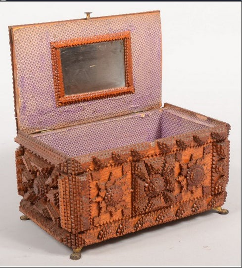 American Tramp Art Jewelry Box with Pincushion Top For Sale