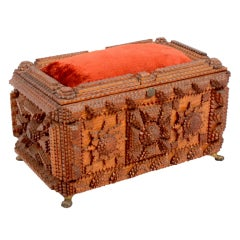 Tramp Art Jewelry Box with Pincushion Top