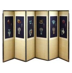 Vintage Korean Six Panel Embroidered Screen