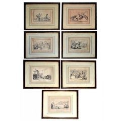 """Comforts of Bath"" Seven Satirical Prints by Thomas Rowlandson"