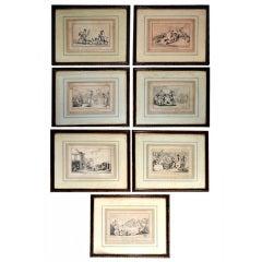 """Comforts of Bath"" Seven Satirical Prints by Thomas Rowlandson"