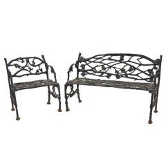 Set of Naturalistic Cast Iron Garden Furniture, Late 19th Century