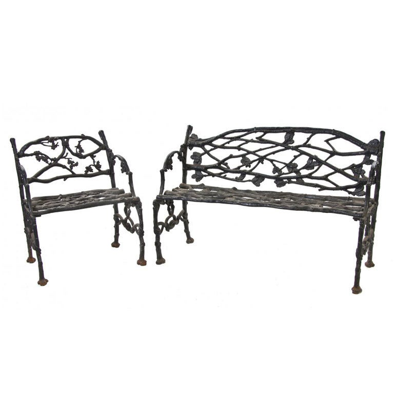 Set of naturalistic cast iron garden furniture late 19th Cast iron garden furniture