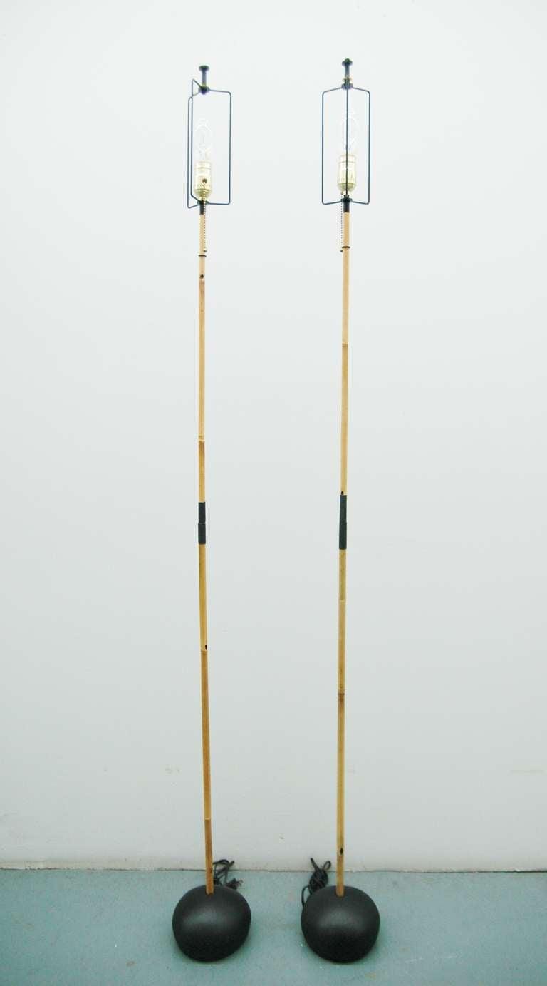 Pair Of Noguchi Akari Bamboo Floor Lamps At 1stdibs