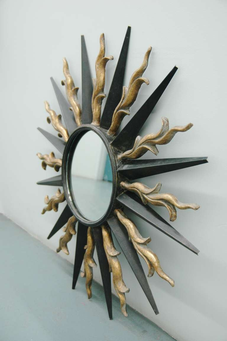 Art Deco Wall-Mounted Sunburst Mirror in the Style of Gilbert Poillerat For Sale