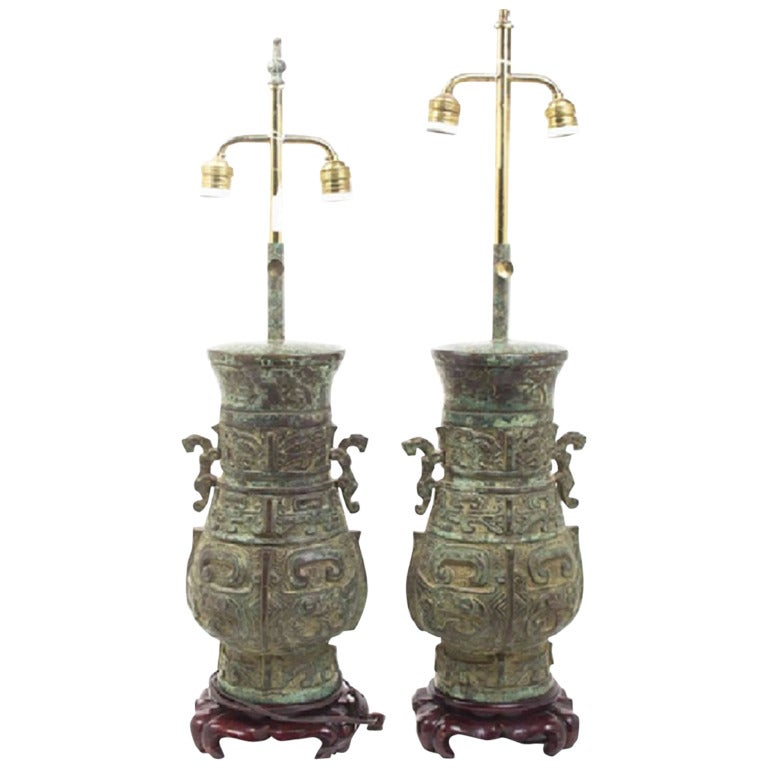 Pair of Chinese Bronze Vessels as Table Lamps