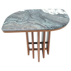 Large Modernist Side Table with Marble Top
