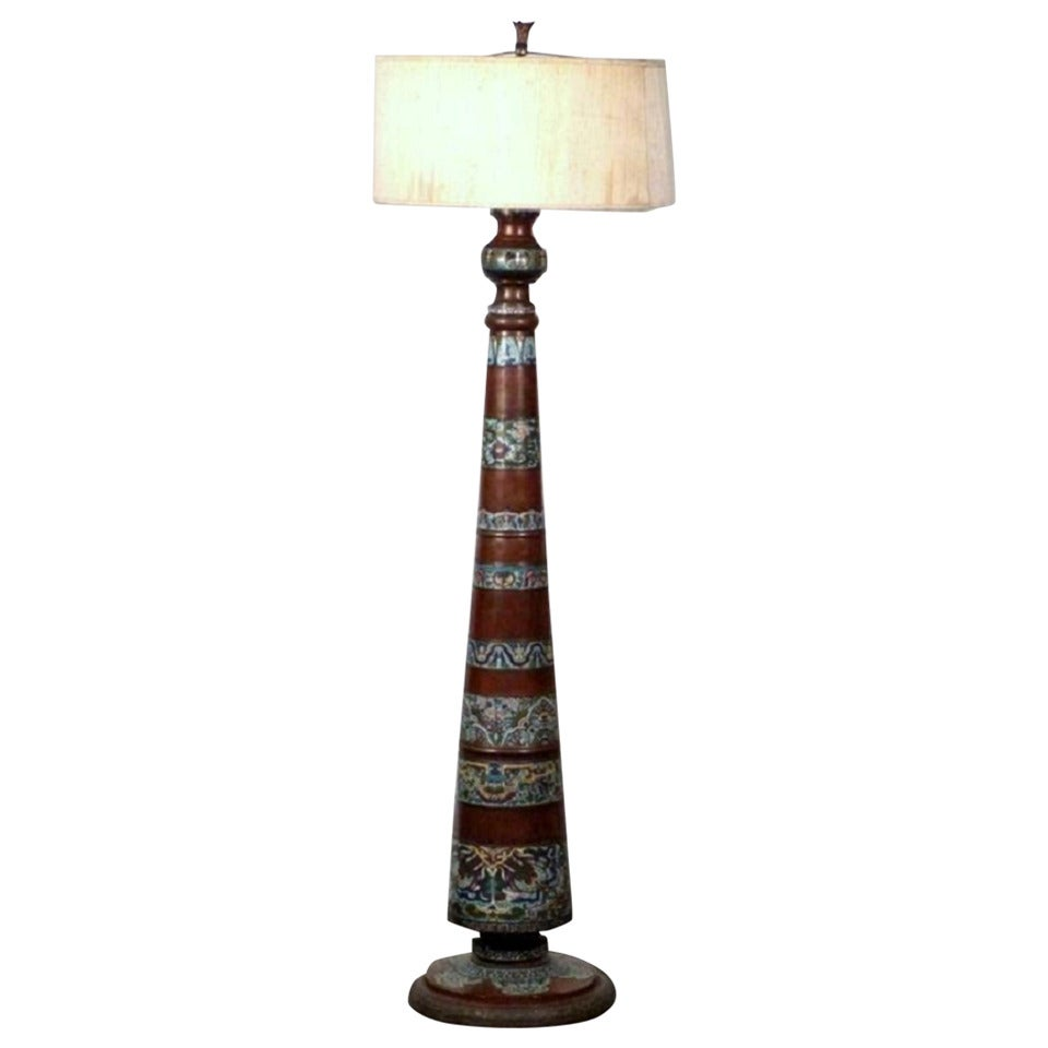 Chinese Champleve Floor Lamp At 1stdibs