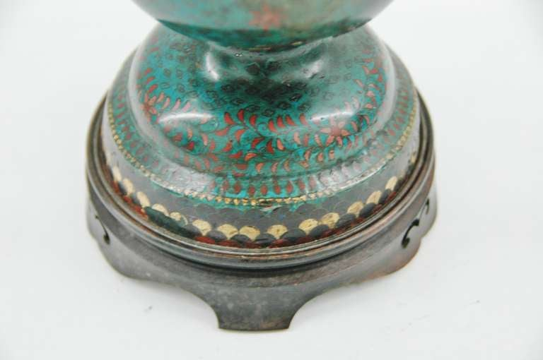 Cloisonné Footed Jar Lamp For Sale 1
