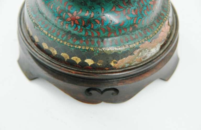Cloisonné Footed Jar Lamp For Sale 2