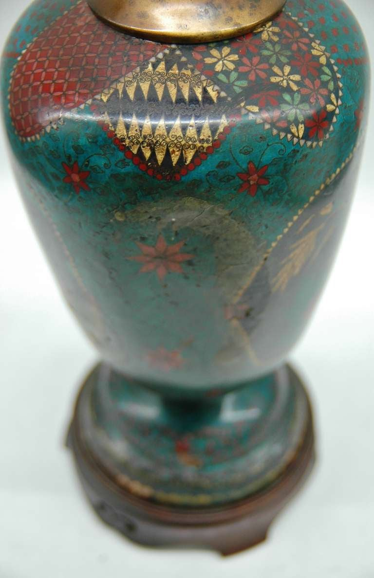 Cloisonné Footed Jar Lamp For Sale 3