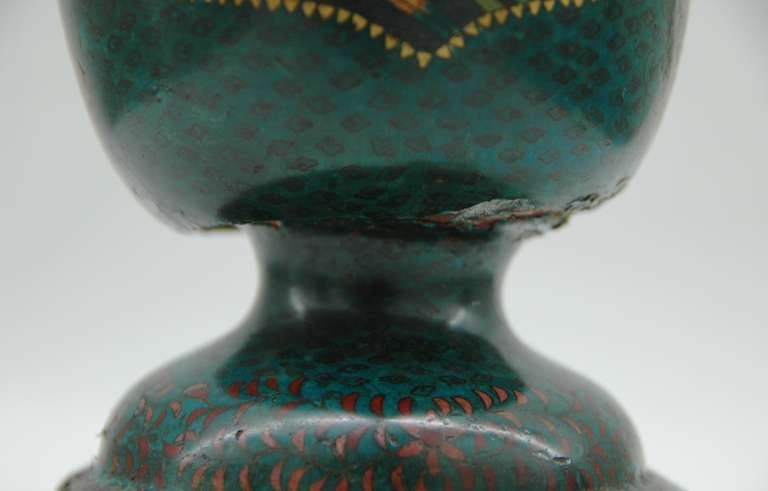 Cloisonné Footed Jar Lamp In Distressed Condition For Sale In NYC, NY