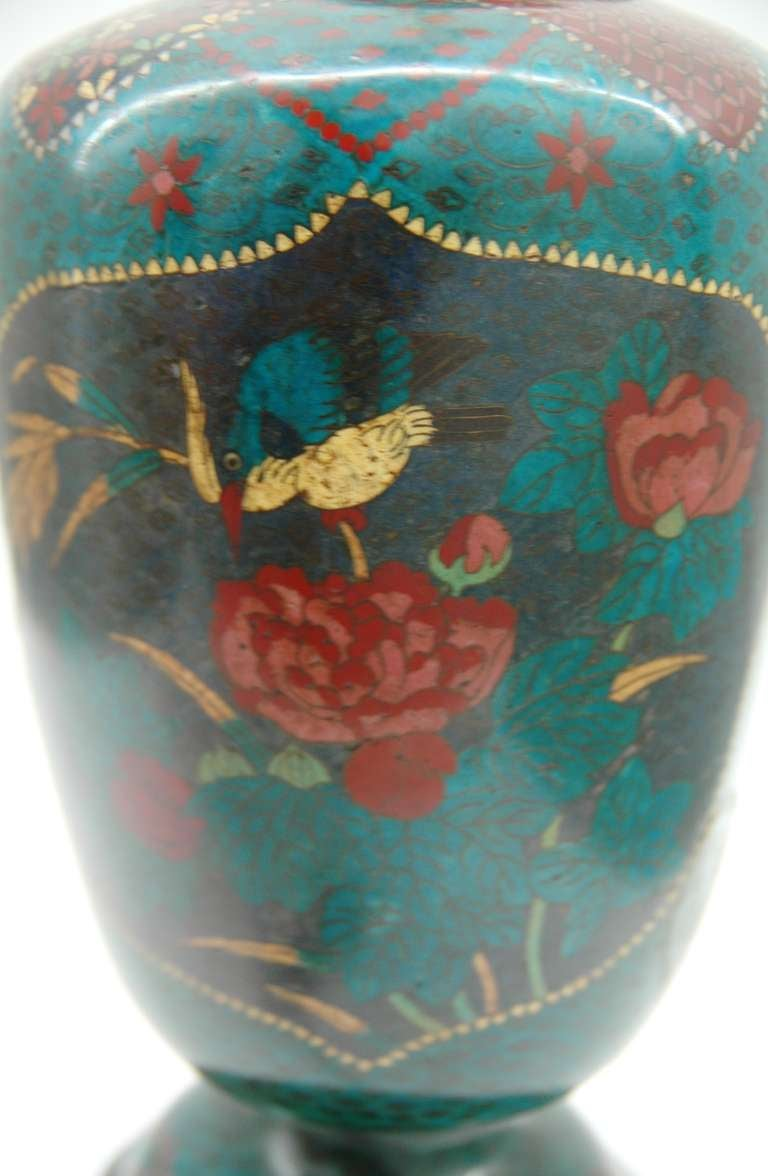 19th Century Cloisonné Footed Jar Lamp For Sale
