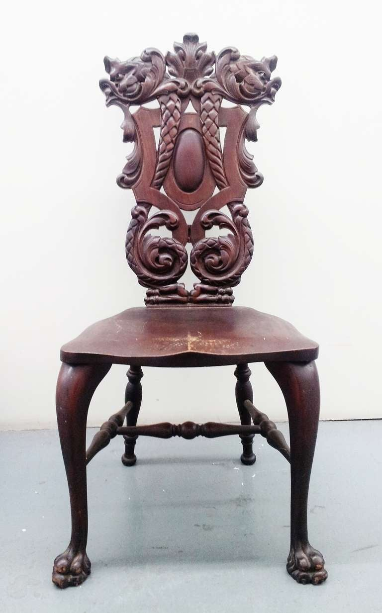 Carved Mahogany Chair By Stickley And Brandt For Sale At