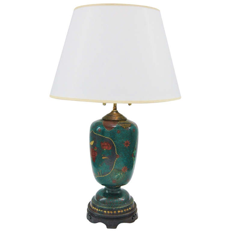 Cloisonné Footed Jar Lamp For Sale