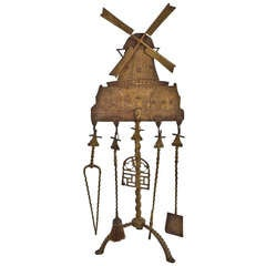 Large and Unusual Windmill Fireplace Set Attributed to Oscar Bach