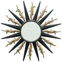 Wall-Mounted Sunburst Mirror in the Style of Gilbert Poillerat