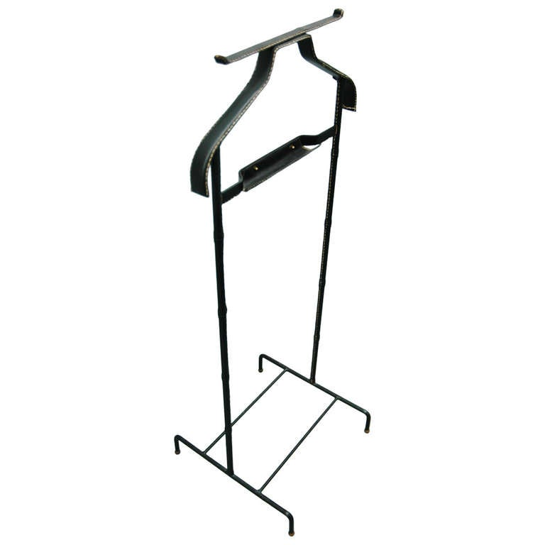 Black Leather-Wrapped Brass Valet by Jacques Adnet