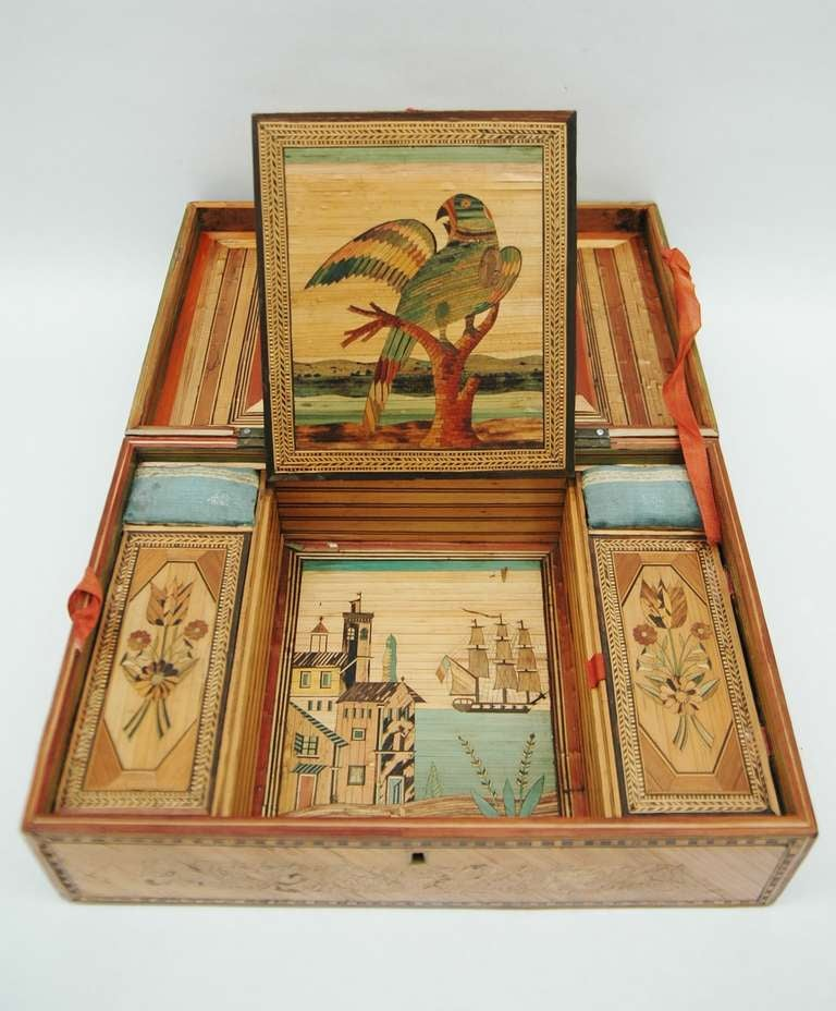 A Fine Straw Marquetry Box At 1stdibs