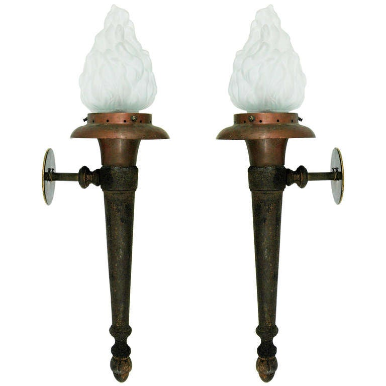 Pair of Large Neoclassical Torch Sconces For Sale at 1stdibs
