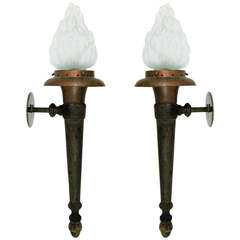 Pair of Large Neoclassical Torch Sconces
