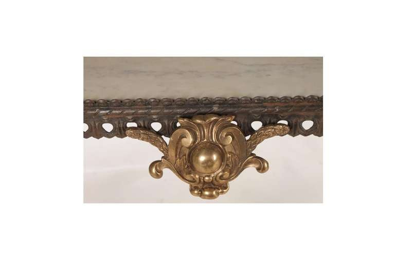 American Neoclassical Bronze and Iron Console Table For Sale
