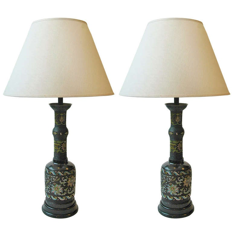 A Pair Of Japanese Bronze Champleve Table Lamps At 1stdibs