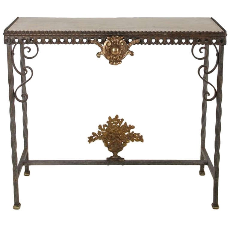 Neoclassical Bronze and Iron Console Table For Sale