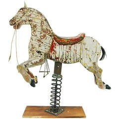 Antique Wooden Rocking Carousel Horse