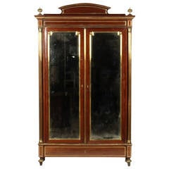 French Empire Mahogany Gilt Bronze Mounted Armoire