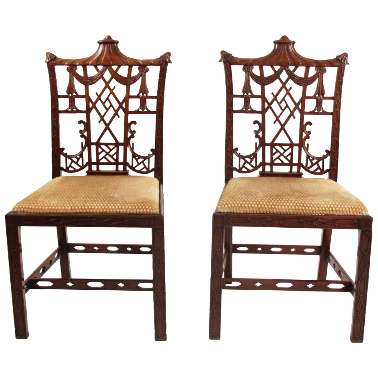 Pair Of Chinese Chippendale Chairs At 1stdibs