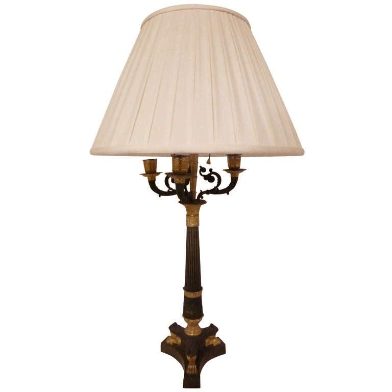 Fine Gilt Bronze Empire Candelabra Lamp