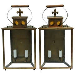 A Pair of Coach Style Lantern Outdoor Lights