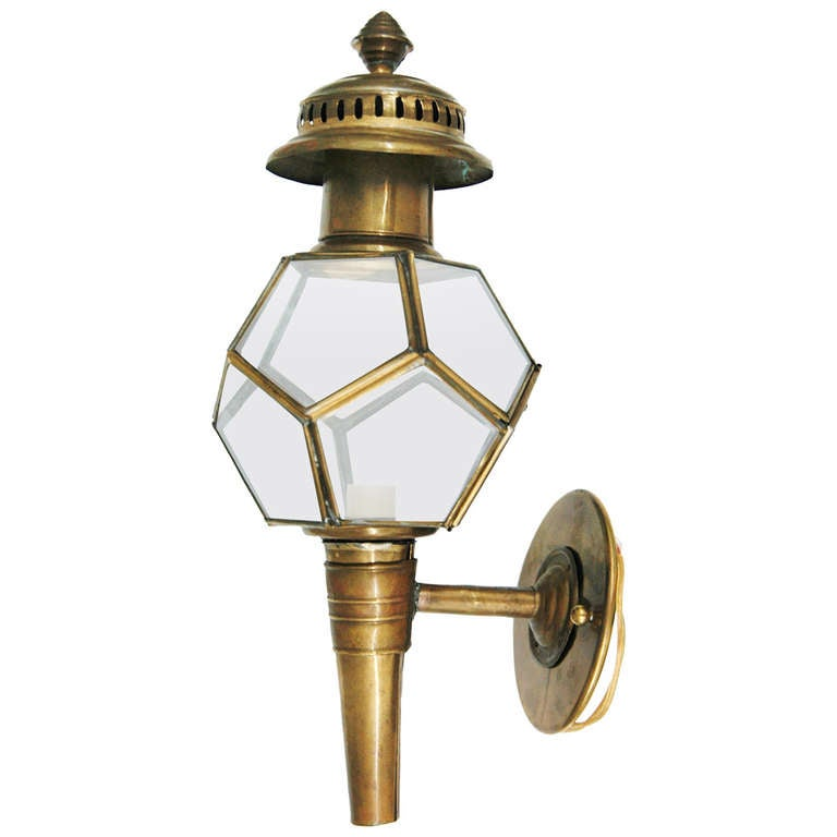 A Unique Brass American Coach Light Wall Lantern at 1stdibs