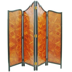 Remarkable Wood Marquetry Screen