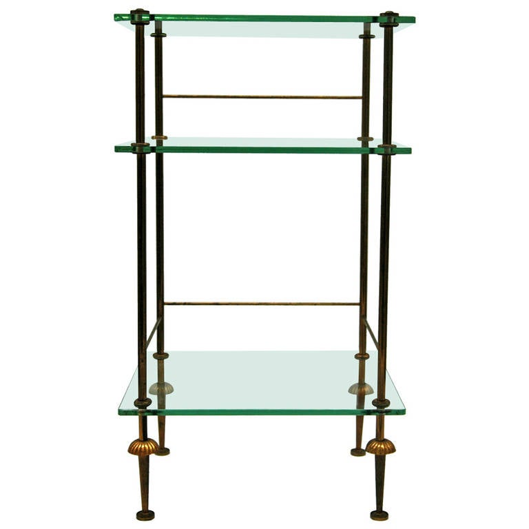 Classic metal and glass multi tier side table for sale at 1stdibs
