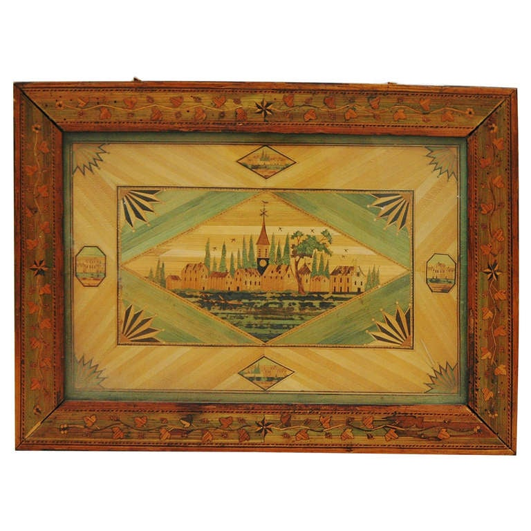 Fine Straw Marquetry Framed Panel