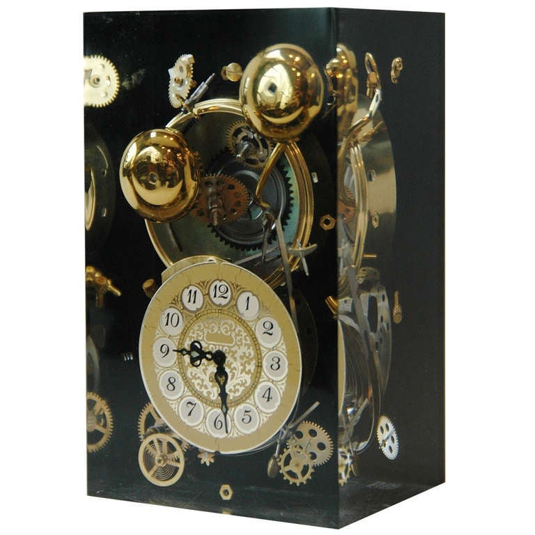Lucite Clock Sculpture in the Manner of Arman