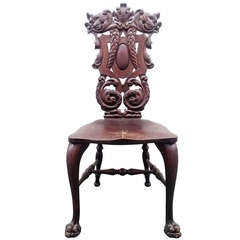 Carved Mahogany Chair by Stickley & Brandt