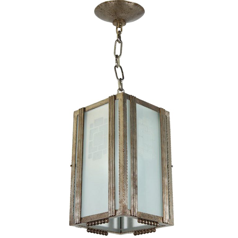 Petite Art Deco Pendant Lantern In Wrought Iron And Glass