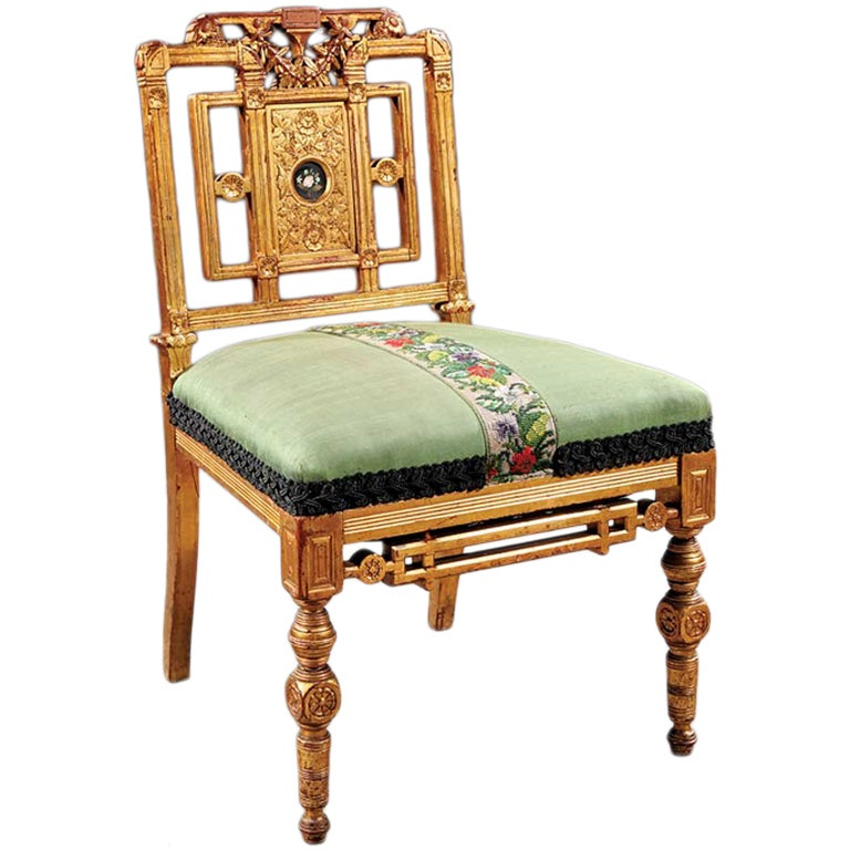 Fine American Giltwood Side Chair circa 1860 For Sale at  : XXXneallot88aestheticslipper125522991xcopy from 1stdibs.com size 768 x 768 jpeg 73kB