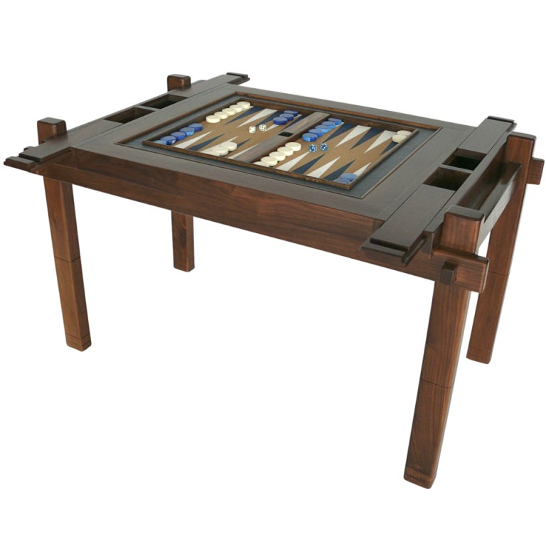 Walnut wood backgammon table at 1stdibs for 10 games in 1 table